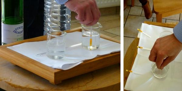 Hydrogencarbonat in Staatl. Fachingen: Test mit Salzsäure. Bilder: (c) Staatl. Fachingen